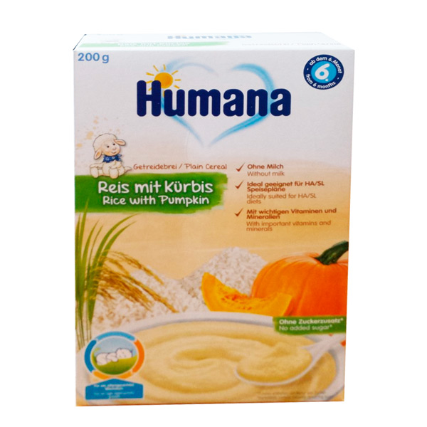 Humana rice with pumpkin 200 g Cereal arroz con calabaza