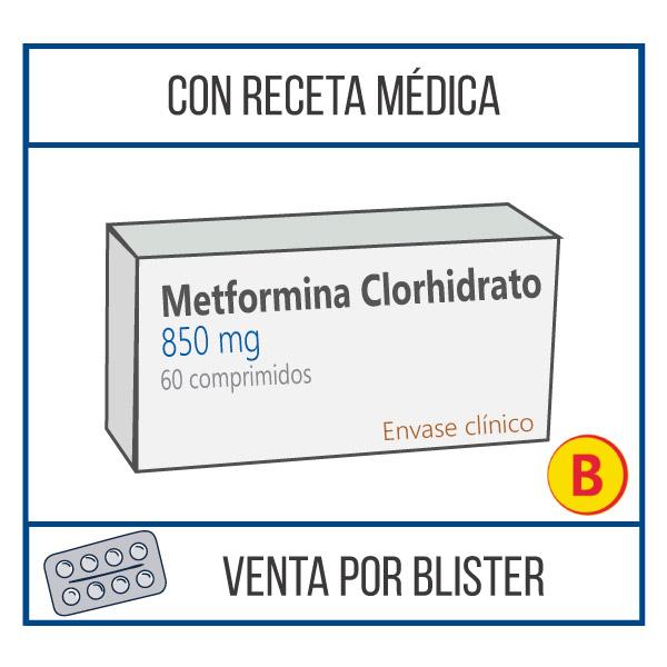 Metformina clorhidrato 850 mg 60 comprimidos