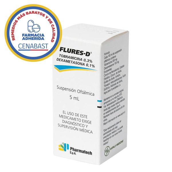 Flures-D tobramicina 03% dexametasona 01% suspensión oftálmica 5ml Pharmatech